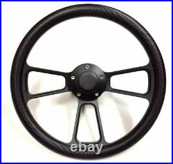 14 Carbon Fiber Black Muscle Steering Wheel with 69-94 Chevy GM Billet Adapter