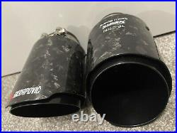 2 X Gloss Black Forged Carbon Fibre Akrapovic Exhaust Tips 4 Universal Tailpipe