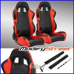 2 x BLACK/SIDE RED CARBON FIBER PVC LEATHER L/R RACING BUCKET SEATS + SLIDER