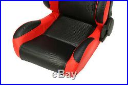 2 x Reclinable Black/Red Carbon Fiber PVC Leather Left/Right Racing Bucket Seats