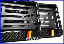 2x Genuine Carbon Fibre Number Plate Surround Holder Frame For Audi VW Mercedes