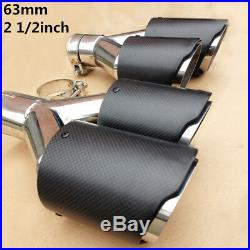 2x Stainless Dual Car Exhaust Tip Carbon Fiber Muffler Pipe 63mm Inlet Universal