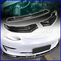 3pcs Real Carbon Fiber Front Body Kit Bumper Spoiler Lip Fit 17-21 Tesla Model 3