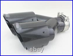 63mm Full Black Steel Carbon Fiber Tip Car Dual Muffler Exhaust Pipe LEFT+RIGHT