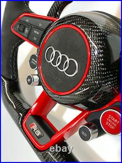 Audi 2019 R8 Alcantara MAT / GLOSSY RED/BLUE Carbon Fiber Custom Steering wheel