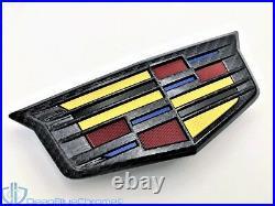Cadillac ATSV CTSV Black Carbon Fiber Front Grille Emblem Genuine GM V OEM Logo
