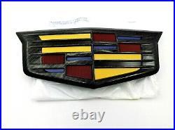 Cadillac Escalade Black Carbon Fiber Front Grille Emblem 16-19 Genuine GM OEM