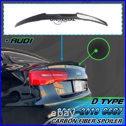 Carbon Fiber Trunk Spoiler Lip Wing For 2012-2018 Audi A6 C7 Sedan 4dr Type D