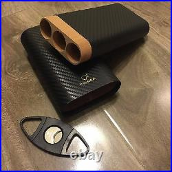 Cohiba Carbon Fiber Leather 3 Ct Wooden Cigar Case Travel Humidor + Free Cutter