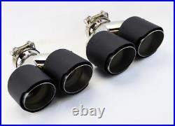 Dual 4 Quad Staggered Carbon Fiber Exhaust Tips Fits Acura TL 2004-2014