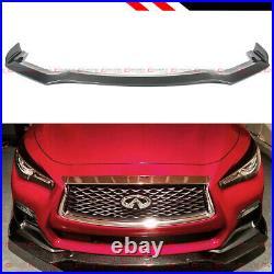 FOR 2018-2021 Infiniti Q50 Sport Carbon Fiber Front Bumper Lip Spoiler Splitter