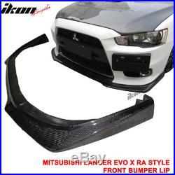 Fits 08-15 Mitsubishi Lancer Evolution EVO X 10 RA Style Front Bumper Lip CF