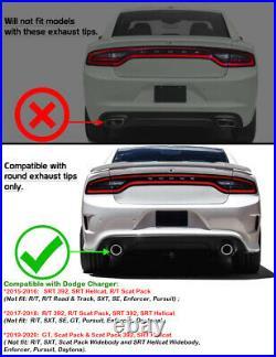 Fits 15-20 Dodge Charger SRT V3 Style Rear Bumper Diffuser Carbon Fiber Print