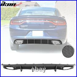Fits 15-20 Dodge Charger V2 Style Rear Diffuser Bumper Lip Carbon Fiber Print PP