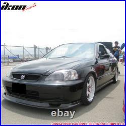 Fits 99-00 Honda Civic FM Style Front Bumper Lip Chin Spoiler Carbon Fiber CF
