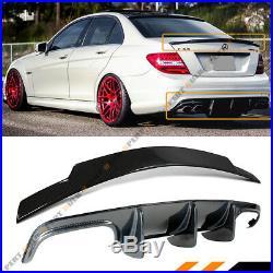 For 08-11 Benz C63 Amg Big Fin Carbon Fiber Rear Bumper Diffuser + Trunk Spoiler