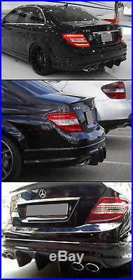 For 08-11 Mercedes W204 C63 Amg Big Shark Fin Carbon Fiber Rear Bumper Diffuser