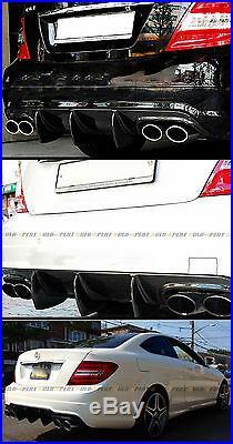 For 12-14 Mercedes-benz C63 Amg Big Shark Fin Carbon Fiber Rear Bumper Diffuser
