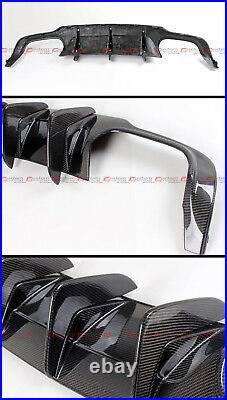 For 12-14 W204 C63 Amg Big Shark Fin Carbon Fiber Bumper Diffuser+ Trunk Spoiler