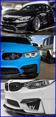 For 15-19 Bmw M3 M4 Carbon Fiber Bumper Fang LID Covers + 2 Pcs Add-on Splitters