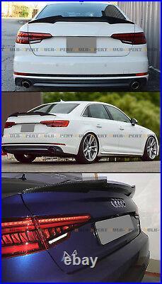 For 17-2020 Audi A4 S4 Sline B9 V Style Carbon Fiber Highkick Trunk Spoiler Wing