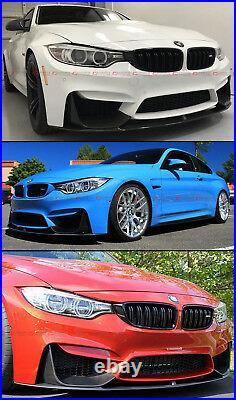For 2015-19 BMW F80 M3 F82 M4 Carbon Fiber Front Bumper Lip + 2 Pc Splitters Set