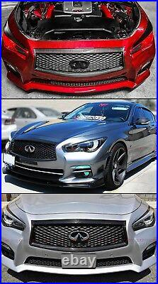 For2014-2017 Infiniti Q50 S Carbon Fiber Front Grill Outline Trim Cover Overlay