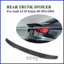 Full Carbon Fiber Rear Trunk Spoiler For Audi A3 S3 RS3 8V Sedan (2014 2020)
