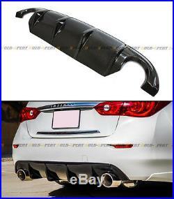 Glossy Carbon Fiber S Style Rear Bumper Diffuser Body Kit Lip For Infiniti Q50 S