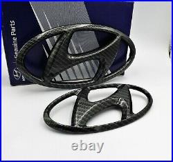 Hyundai Veloster N 19-20 Black Carbon Fiber Emblem Set Front & Rear Logos OEM