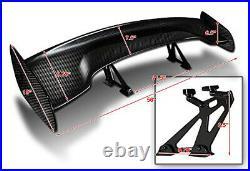 JDM Real Carbon Fiber GT Style Racing Back Rear Trunk Spoiler Wing Brackets X50