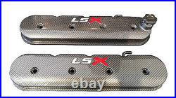 LSX Valve Covers Carbon Fiber Hydro Dipped White LS Red X Holley 241-405