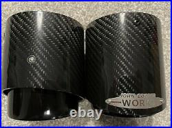 MINI F54 F55 F56 F57 F60 JCW Pair Black Carbon Fibre Exhaust Tips Cooper S