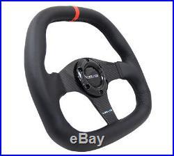 NRG ST-019CFR Carbon Fiber series Flat bottom steering wheel 320mm Black Leather
