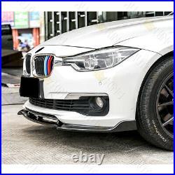 Real Carbon Fiber Front Bumper Lip 3-pcs Fit 13-18 Bmw F30 3-series Sedan Base