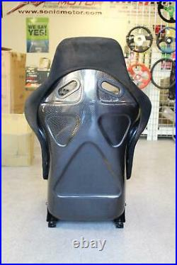 SNC P2 Full Racing Bucket Fixed Back Seat Black Suede with Carbon Fiber Shell