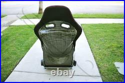 Yellow Carbon Fiber Low Max Style Cloth Red Stitching Racing Seat with Slider