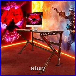 ZORON Gaming Desk PC Computer Table K Shape Carbon Fibre Effect Black and Red